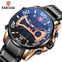 KADEMAN New Luxury Watches Men Full Steel 3ATM Sports Watch TOP Brand Dual Display Digital Wristwatches Casual Relogio Masculino
