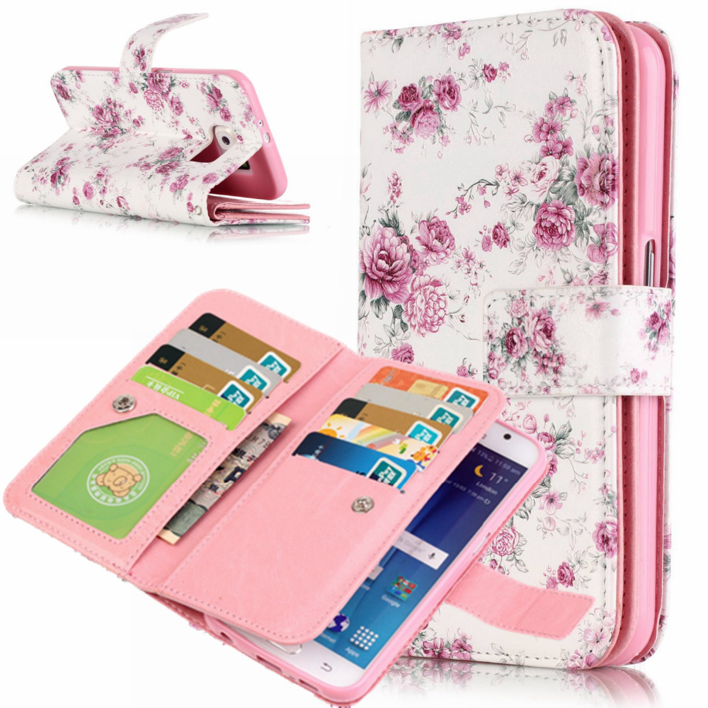 Fashion Flip Wallet Leather Case For Samsung Galaxy S3/S4/S5/S6 EDGE/S7 EDGE Stand Magnetic Purse Cover + 9 Card Slots Phone Bag