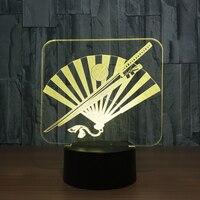 3D Knife And Folding Fan Lamp 7 Color Led Night Lights Kids Led Usb Table Lampara