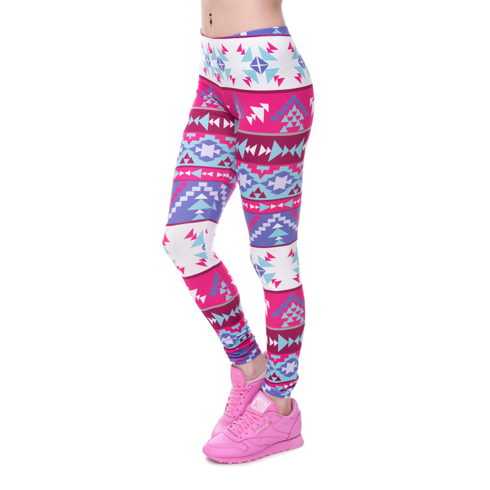 Zohra Brands Women Fashion Legging Aztec Round Ombre Printing leggins Slim High Waist Leggings Woman Pants 24