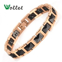 Wollet Jewelry 18cm 99.999% Germanium Healing Magnetic Therapy Black Ceramic Bracelet For Women Rose Gold Color Hematite