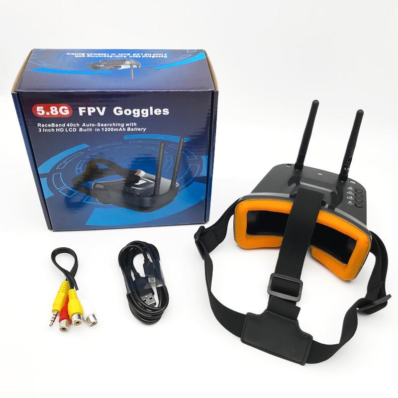 Mini FPV gogle VR 3 cal cal es 480*320 wyświetlacz 5.8G 40CH automatycznego wyszukiwania wbudowany w 3.7 V 1200 mAh bateria do FPV Quadcopter Drone w Części i akcesoria od Zabawki i hobby na  Grupa 1