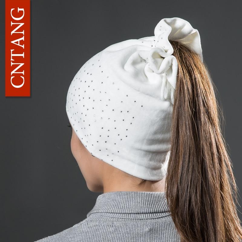 CNTANG Women Rhinestones Velvet Hats Winter Warm Fashion Tied hair Ponytail Hat For Female Autumn Flannel Caps Skullies Beanies