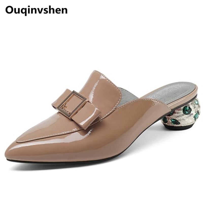 Militar Ouqinvshen Señaló Extraño verde Estilo Nude Cristal De Genuino Verano Decoración Metal Mulas Toe Mujeres Del Moda Zapatillas Zapatos Cuero Color AZArqR8w
