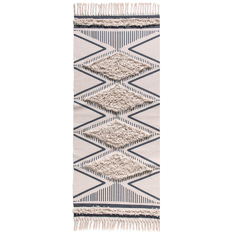 Moroccan Tufted Cotton Handmade Woven Rug Comfortable Tassels Printed Indoor Floor Carpet For Bedroom,Living Room With Non-slip