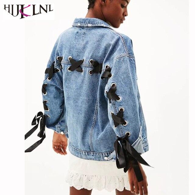 3599ae34130 HIJKLNL Women Denim Jacket European Style Back Lace Up Bandage Loose Denim  Coat Ladies Bow Jeans jacket veste jean femme NA375