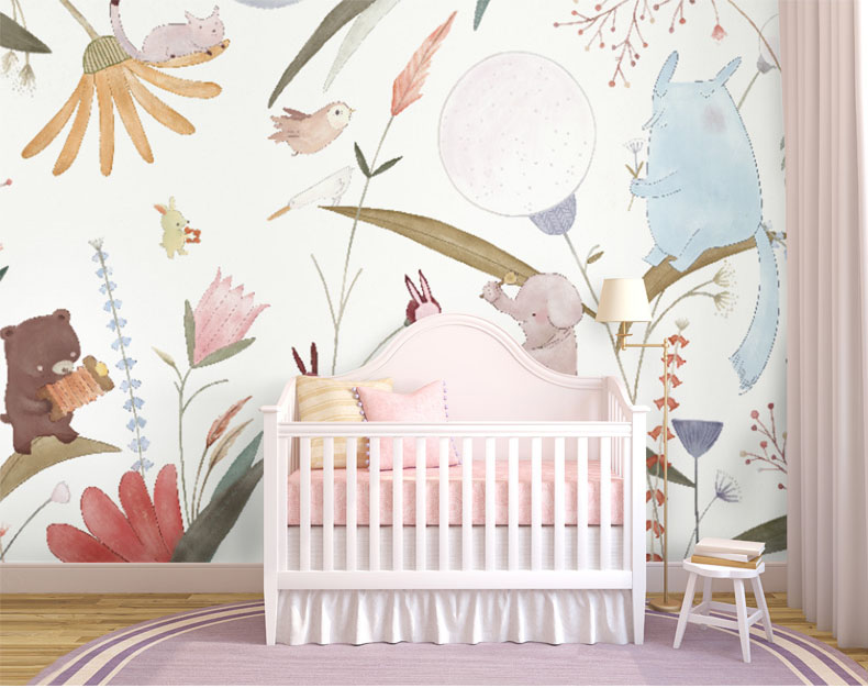 Cartoon Forest Animal Wallpaper Mural 3d Wall Photo Mural For Baby Child Room Sofa Background 3d Elephant Wall Paper