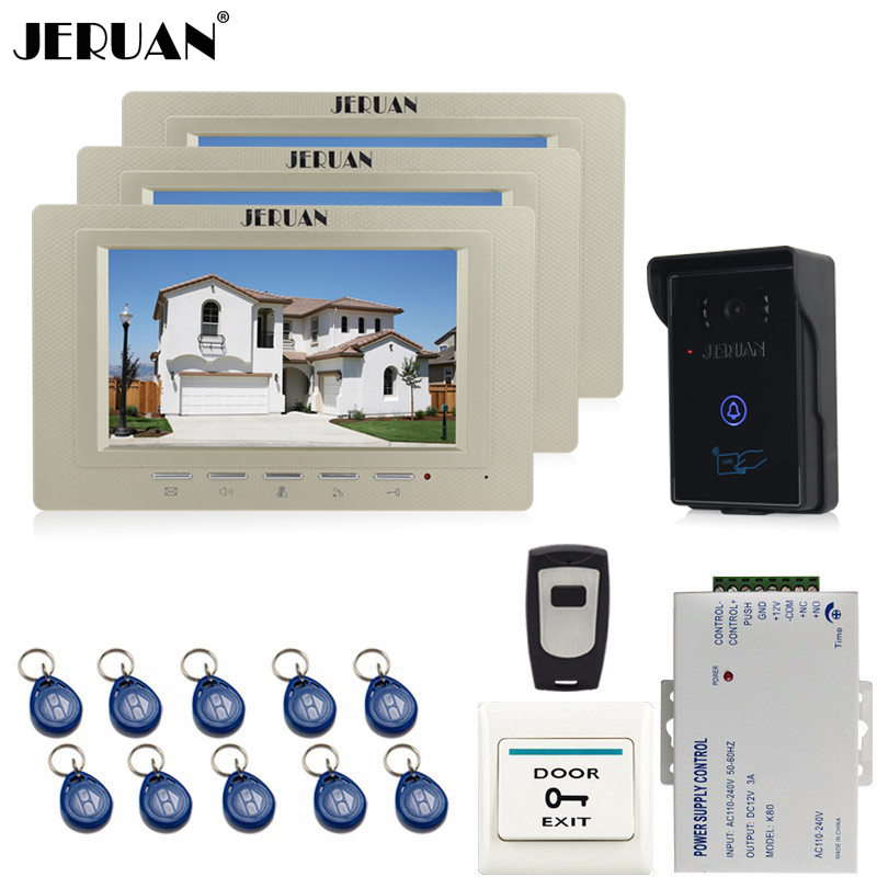 JERUAN 7 inch Video Intercom Video Door Phone System 3 monitors + 700TVL RFID Access Waterproof Touch key Camera+Remote control jeruan home 7 inch lcd screen video door phone intercom system 1 monitor 700tvl rfid access camera remote control in stock