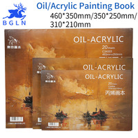 Bgln Professional Oil Painting Paper Book 8K 16K 32K 20Sheets Acrylic Oil Paint Book Creative Painting