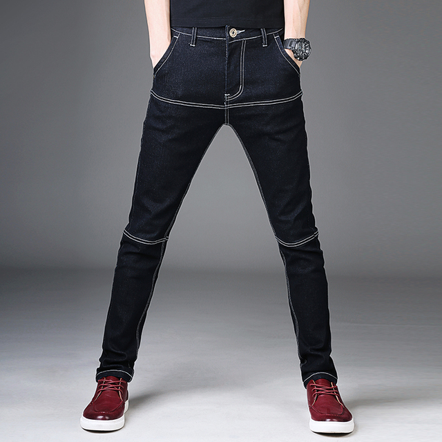 ea48e2016417 Black Mens Jeans Cotton Denim Pants Man Stretch Casual Slim Fit Jean  Trousers Male 2018 Fashion Young Skinny Jeans Men Pants