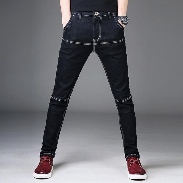 Pantalones vaqueros negros de mezclilla de algodón para hombre elásticos  Casual pantalones vaqueros ajustados para hombre 95b76e38453