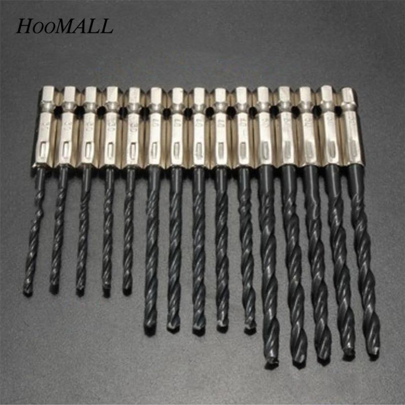 Hoomall 15PCs HSS High Speed Steel Set Twist Drill Bit Nitride Black 3mm-5mm Hole Cutter Handle Drill Woodworker Wood Tool стоимость
