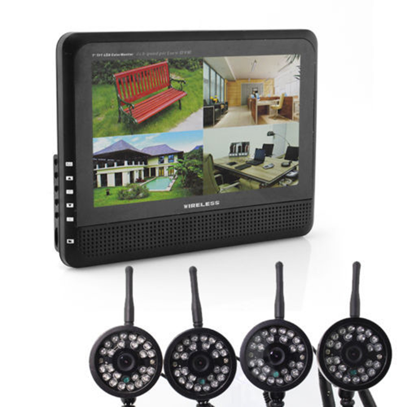 2.4GHz Wireless 4 Channel Quad CCTV Security System 4 Cameras+ 7 LCD DVR/NVR 300M Transfer Night Vision Baby Monitor