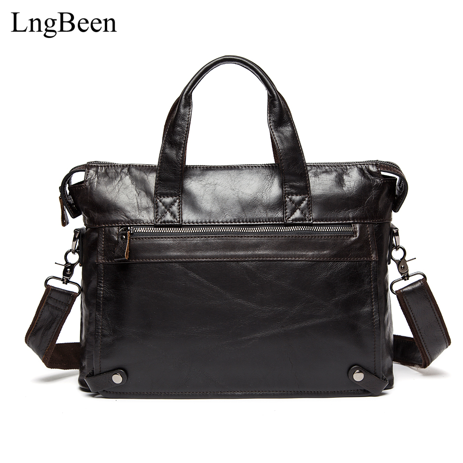 Lngbeen Genuine Leather Black Men Briefcase 14 inch Laptop Business Bag Cowhide Men's Messenger Bags Luxury Lawyer Handbags 9103 2017 fashion genuine leather men briefcase cowhide men s messenger bags 15 6 laptop business bag luxury lawyer handbags li 1832