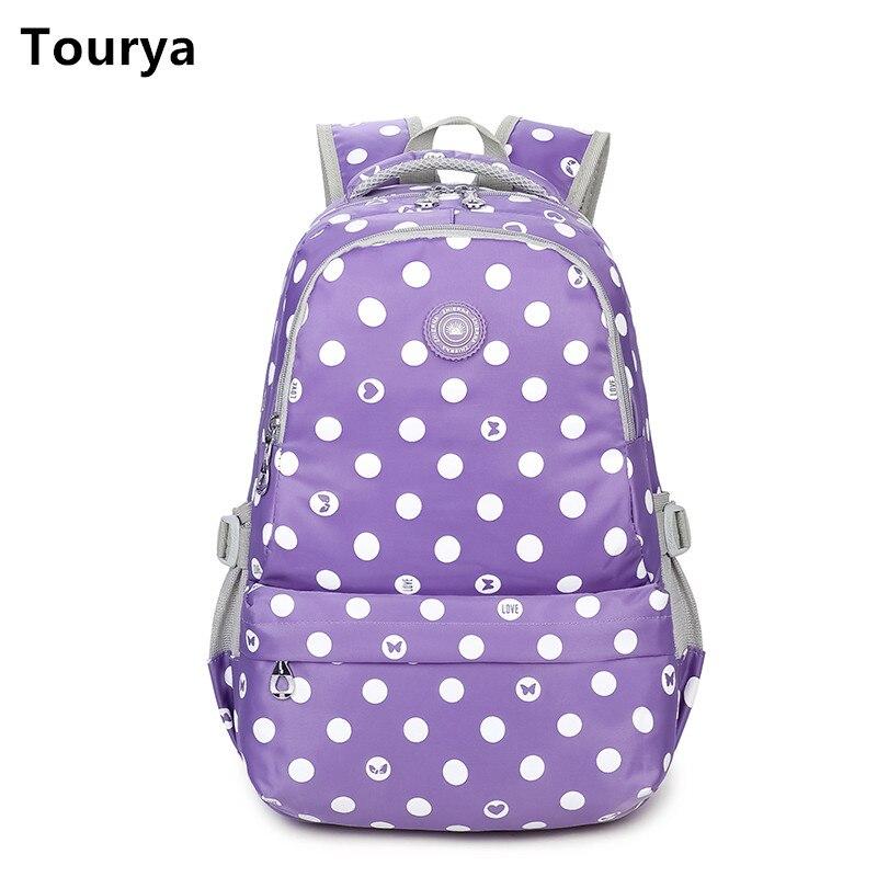 Tourya 캐쥬얼 여성 배낭 나일론 도트 숄더 십 학교용 가방 소녀 노트북 가방 팩 여행 가방 팩 Mochila