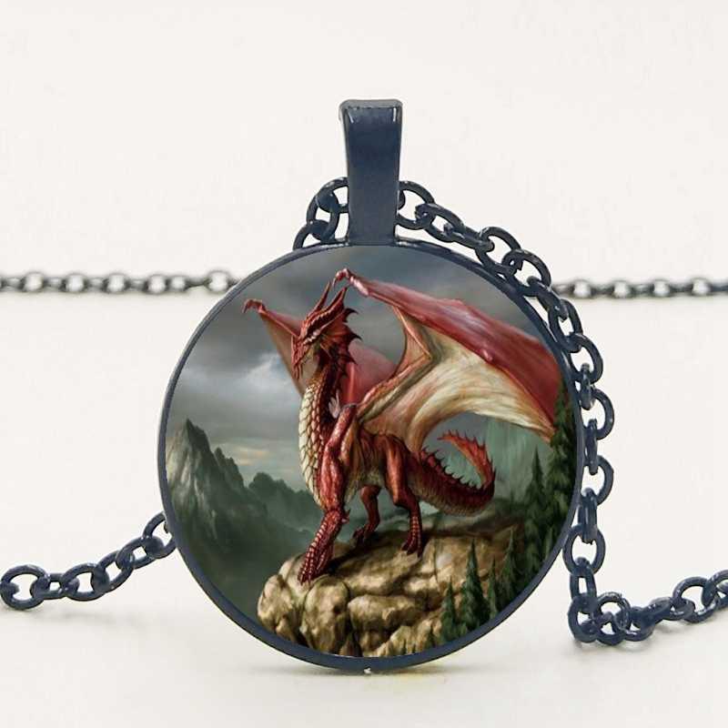 מערבי כנפי דרקון אדום דרקון תליון שרשרת תכשיטי שרשרת לשלוח לחבר של מתנת תמונה פרטי ההזמנה