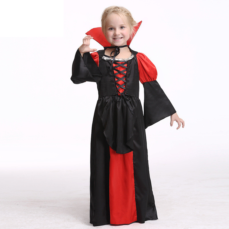 European Style Girl Tulle Tutu Dress Kids Halloween Birthday Party Costume Vampire Princess Long Sleeve Cosplay Dresses Cloth 4pcs gothic halloween artificial devil vampire teeth cosplay prop for fancy ball party show