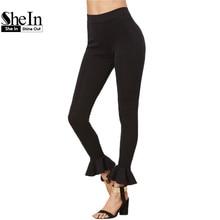 Women Leggings Capris for Women Casual Skinny Legging Womens Clothing Black Ruffle Hem Cute Leggings