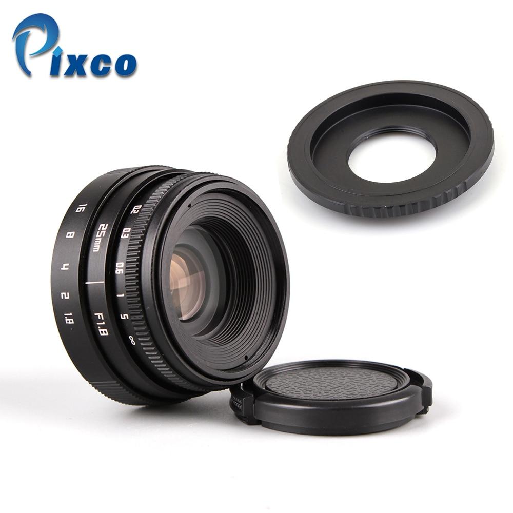 25mm F1.8 Mini APS-C lens voor C Mount camera zwart + adapter voor - Camera en foto