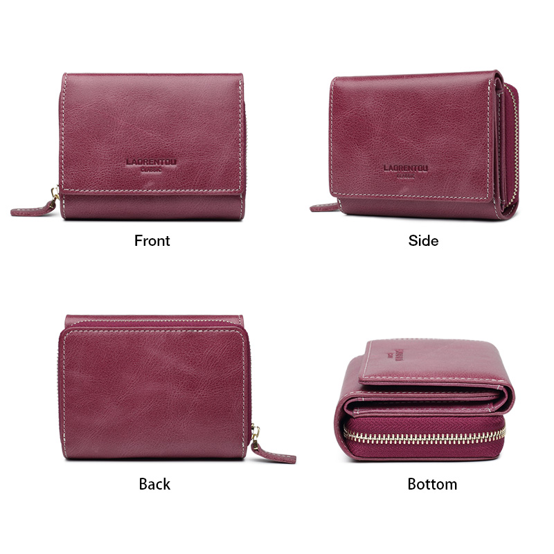 Image 3 - LAORENTOU Genuine Leather Ladies Money Bag Female Short Wallet Casual Card Holder Clutch Bag For Women Coin Purse Mothers GiftWallets   -
