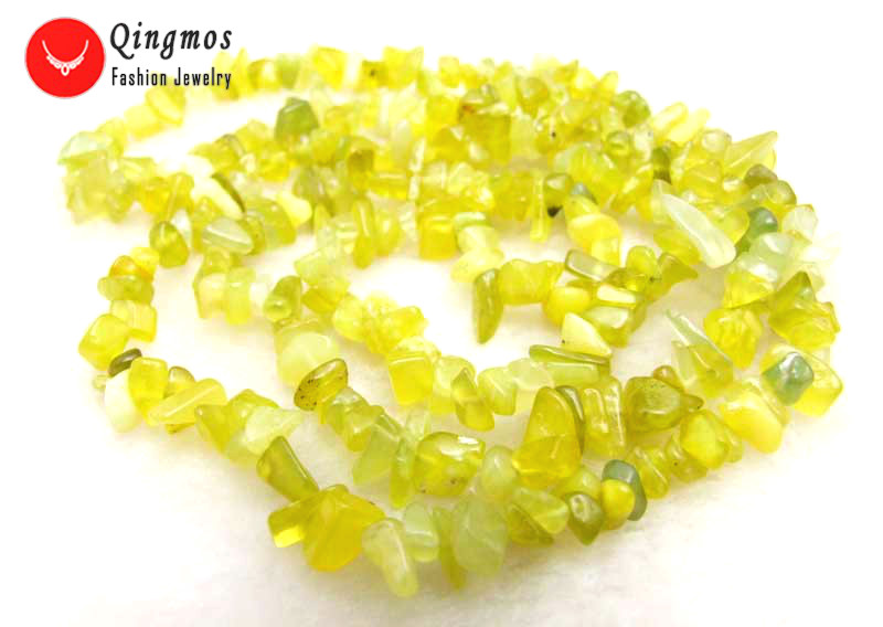 Qingmos Natural Yekkiw Peridot 32 Necklace for Women with 7-8mm Baroque Peridot Long Necklace Fine Jewelry Colar Femme nec5972