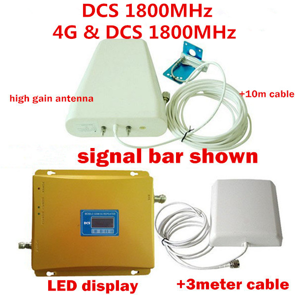LCD Display Mobile Phone GSM Repeater 1800MHz Signal Booster / 4G LTE DCS Signal Repeater Amplifier with LPDA Antenna Full SetLCD Display Mobile Phone GSM Repeater 1800MHz Signal Booster / 4G LTE DCS Signal Repeater Amplifier with LPDA Antenna Full Set
