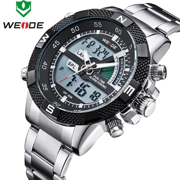 Top Brand WEIDE Men Fashion Sports Watches Men's Full Steel Quartz Analog LED Clock Male Military Wrist Watch Relogio Masculino