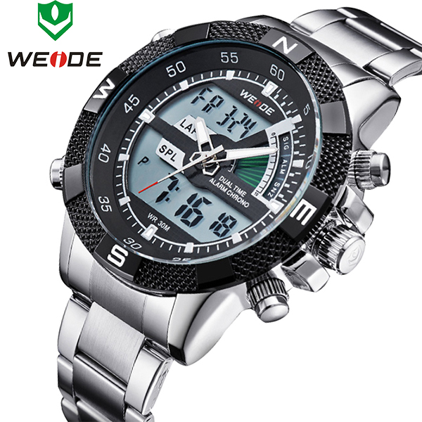 Top Brand WEIDE Men Fashion Sports Watches Men's Full Steel Quartz Analog LED Clock Male Military Wrist Watch Relogio Masculino top brand weide fashion men sports watches men s quartz analog led clock male military wrist watch relogio masculino