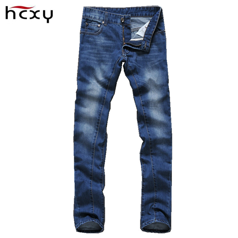 ФОТО 2016 European simple style 4 seasons casual mens jeans high quality full cotton slim plus size pencil pants Cat whisker decorate