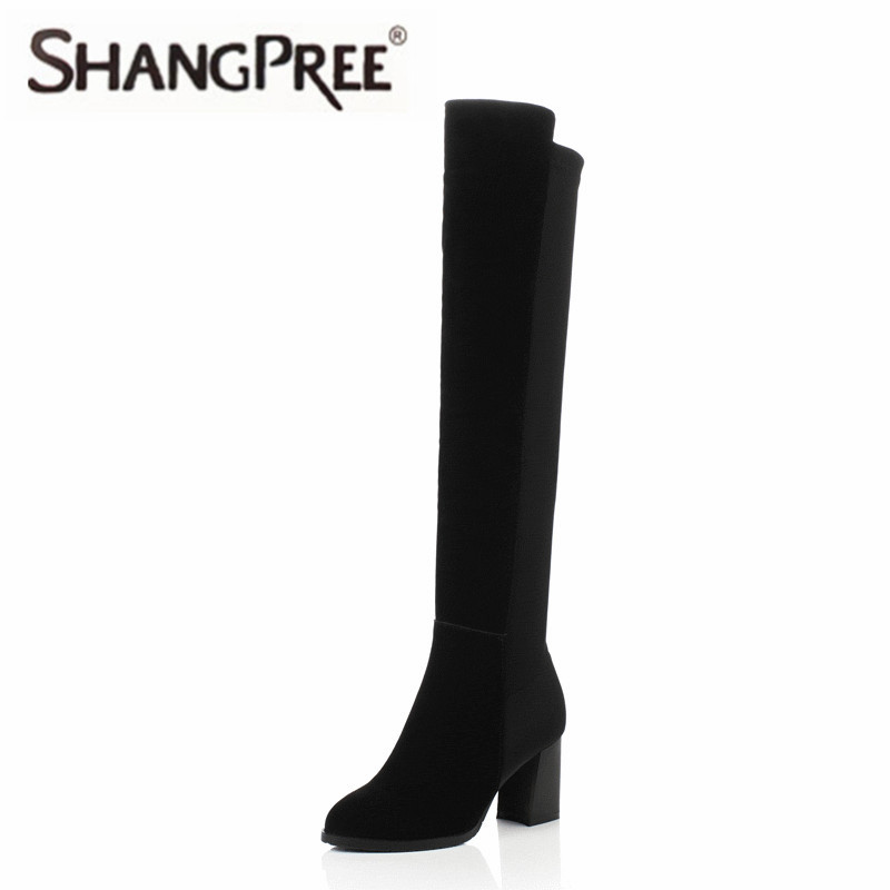 2017 Women Knee High Boots Fashion Westrn Style Solid Black Genuine Cow Leather Square Heel Round Toe Women Boots Size 34-42 new arrival superstar genuine leather chelsea boots women round toe solid thick heel runway model nude zipper mid calf boots l63