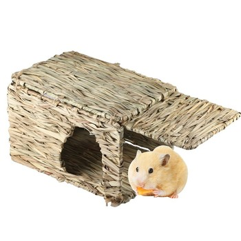 Handcraft Woven Grass Hamster Nest Small Pet Rabbit Hamster Cage House Chew Toys Foldable Pig Rat Hedgehogs Chinchilla Bed 2