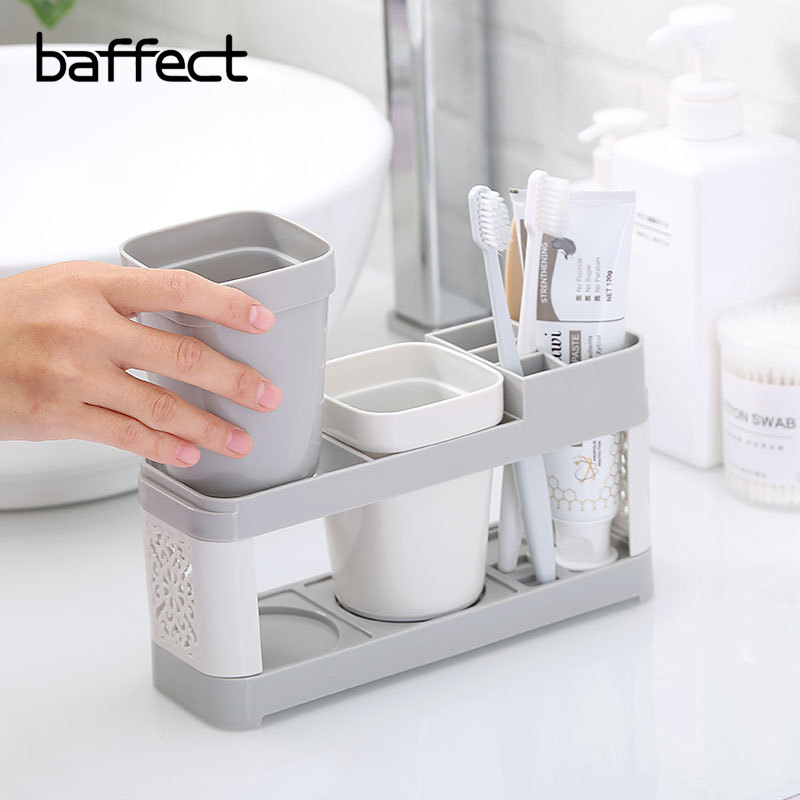Baffect Multi-Function Large Capacity Toothbrush Holder Single Couple Toothpaste Rack Rinse Mouth Cup Wash Suit Holder With Tray image
