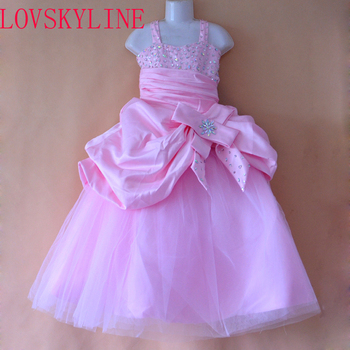 Real photo white pink color Sequined Beading flower girls dresses for wedding Baby birthday Party sexy kids prom gowns