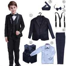 7 Pcs Classic Boys Suits for Weddings Formal Blazer Kids Tuxedo Shirt Vest Party Ring bearer Suits Black - SALE ITEM Mother & Kids