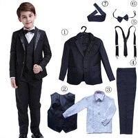 7 Pcs Classic Boys Suits for Weddings Formal Blazer Kids Tuxedo Shirt Vest Party Ring bearer Suits Black