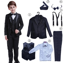7 Pcs Classic Boys Suits for Weddings Formal Blazer Kids Tux