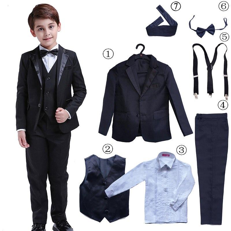 7 pièces Classique Garçons Costumes pour Les Mariages Blazer Formel Enfants Chemise de Smoking Gilet Fête Costumes pour garçon d'honneur Noir