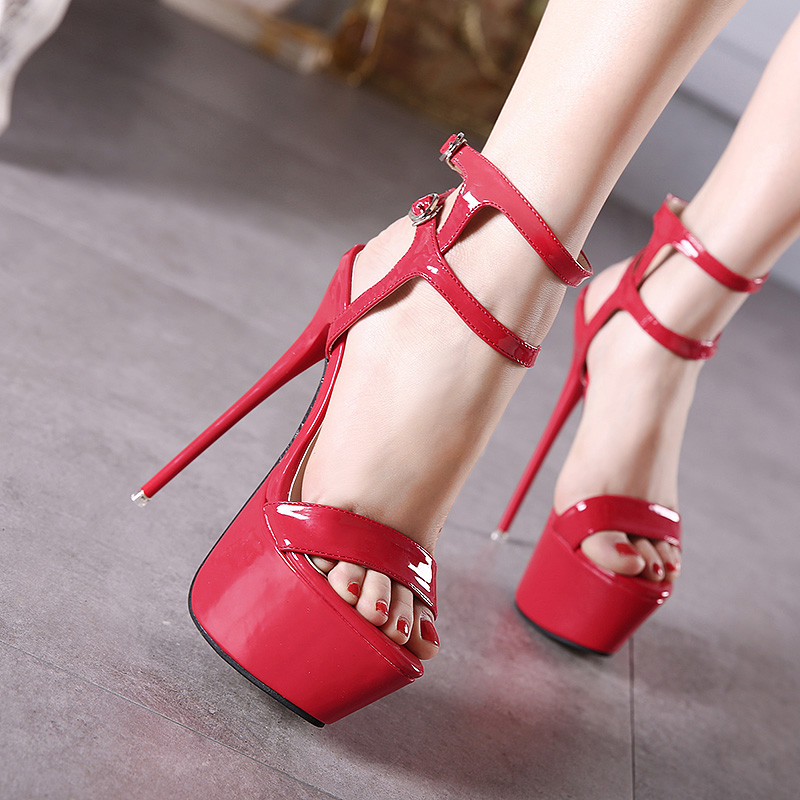 31c2b650de7 Big Size 34-46 Ultra High Heels Sandals Women Shoes Platform Nightclub Sexy  Ladies Sandals Open Toe Ankle Strap Party Sandals
