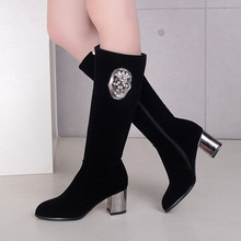 Funny Skull Boots For Women Black Knee High Boots Thick Heel High Heels Autumn Winter Boots Womens Shoes Zipper Riding Boots