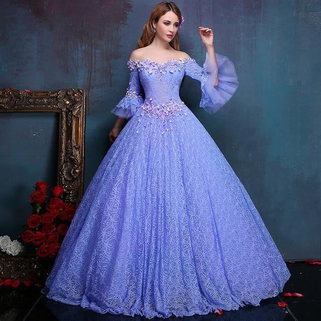 Colour Tulle Blue Wedding Dresses Gowns Retro Vestido De Noiva Luxo 2017
