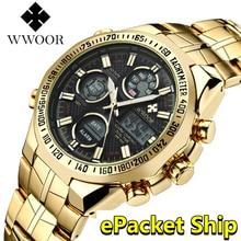 レロジオ Masculino WWOOR 腕時計メンズ 2019 トップブランドの高級 LED ビッグダイヤルメンズゴールド腕時計防水ゴールデン腕時計男性のための