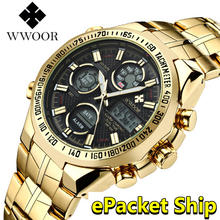 WWOOR reloj para hombre, reloj Masculino de pulsera, LED grande, resistente al agua, dorado, 2019