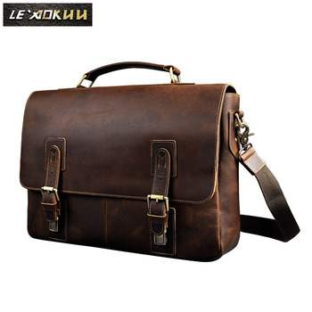Men Crazy Horse Leather Retro Designer Business Briefcase Document Laptop Case Male Fashion Portfolio Attache Shoulder Bag 8069