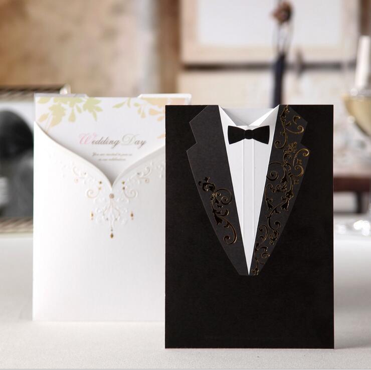 50db / tétel Wishmade lézervágott esküvői meghívók Vőlegény és menyasszony Esküvői meghívók kártyák elkötelezettségért Esküvői zuhany CW2011