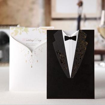 50pcs/lot Wishmade Laser Cut Wedding Invitations Groom and Bride Wedding Invite Cards For Engagement Party Bridal Shower CW2011
