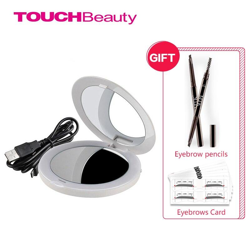 Systematisch Touchbeauty Wiederaufladbare Make-up Led Spiegel Mit Dual Seiten 2x Eingebaute Lichter Perle Weiß Spiegel Tb-1275 Schönheit & Gesundheit Schminkspiegel