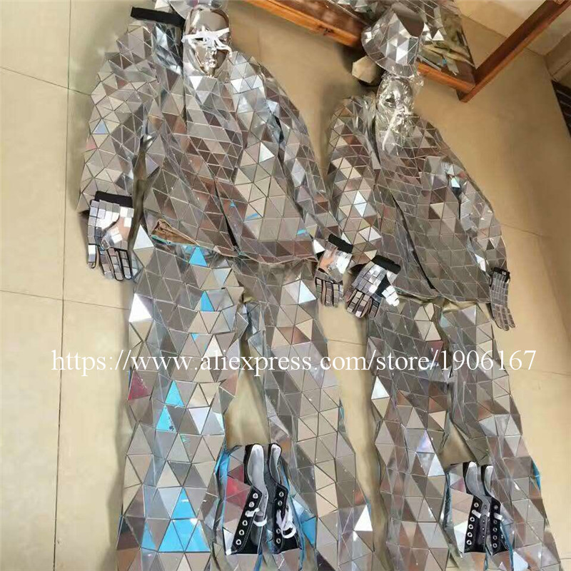 Mirror Clothing Event Party Supplies Mirror Design Dazzling Fashion Costume Men Women Street Art Reflective Clothes Robot Suit4