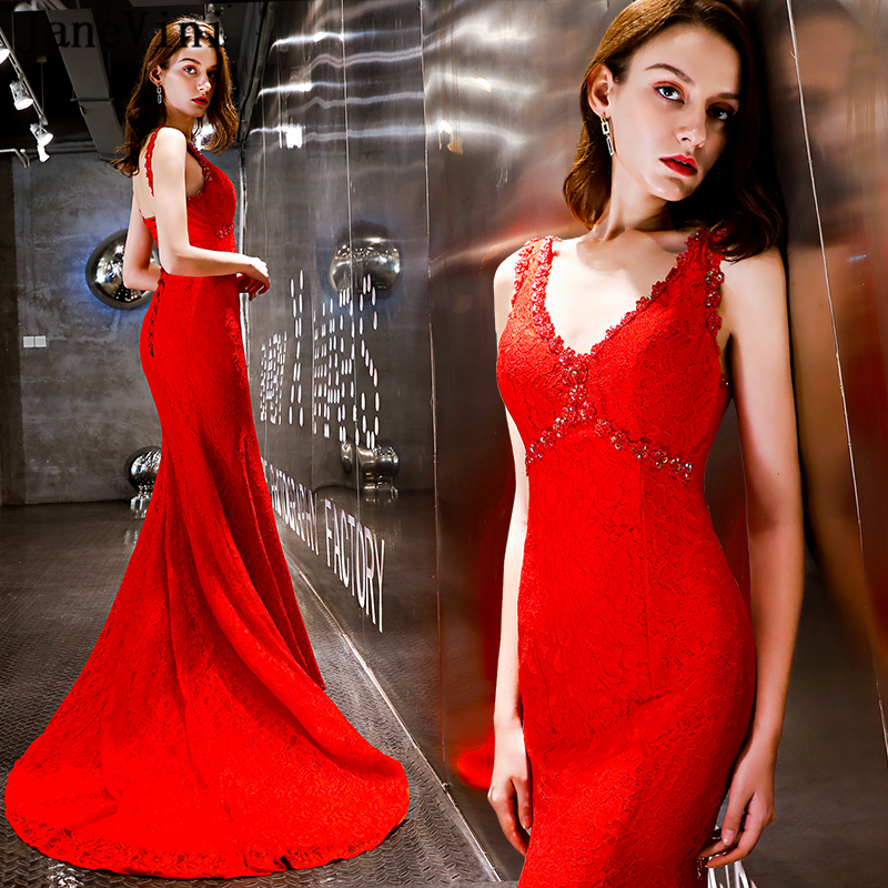 JaneVini 2019 Sexy Red Sequined Mermaid Long   Bridesmaids     Dresses   V Neck Backless Lace Sweep Train Elegant Women Prom Party Gowns
