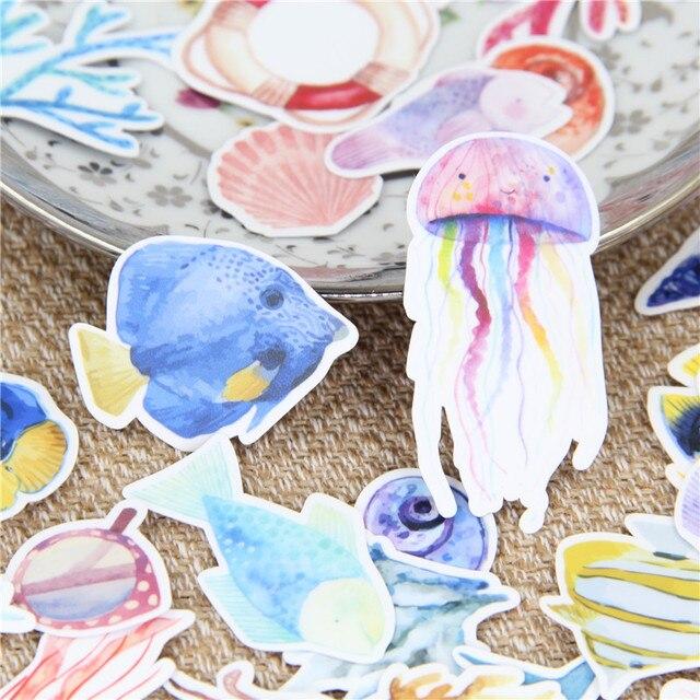 35 piezas hermosa marina de la acuarela de la vida de etiqueta de papel de diario Scrapbooking Diy pegatinas para niños juguetes clásicos