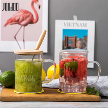 JOUDOO 400ML Transparent Glass Water Bottle Brief Heat Resistant Breakfast Milk Cup Creative Ins Home Water Tea Drinkware Cup35 cool shining discoloring skull cup transparent 400ml 2 x cr2025